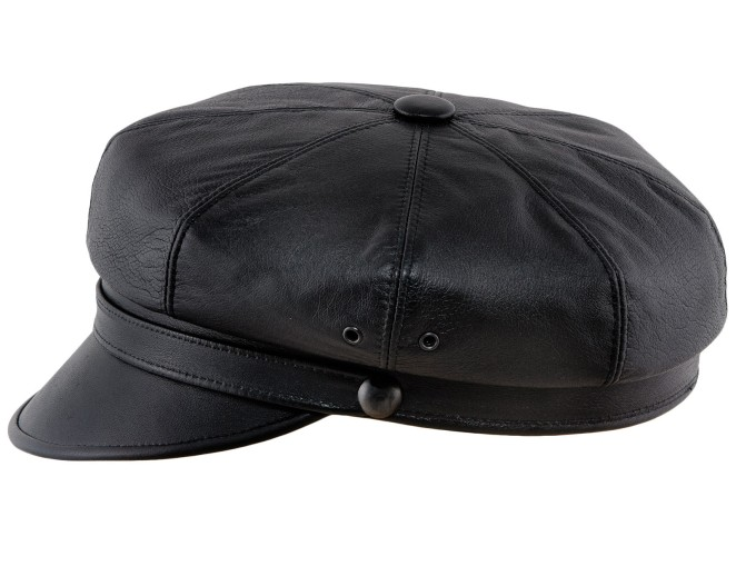 Natural leather peaked vintage motorcycle cap rockabilly punk style biker chopper cruiser Marlon Brando