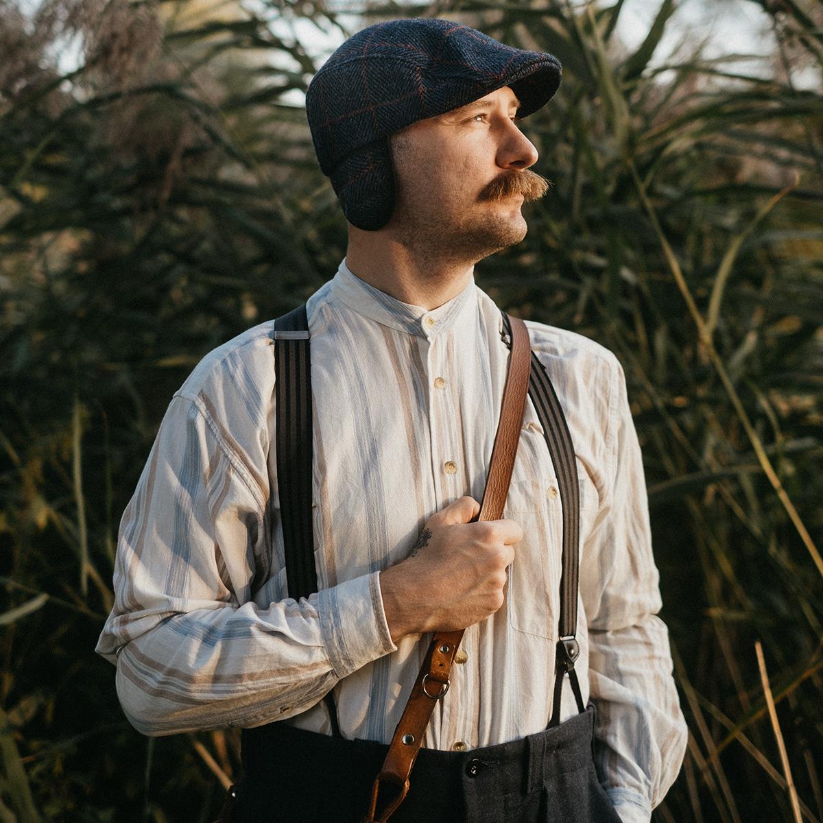 Classic Harris Tweed wool flat cap winter warm earflap hat