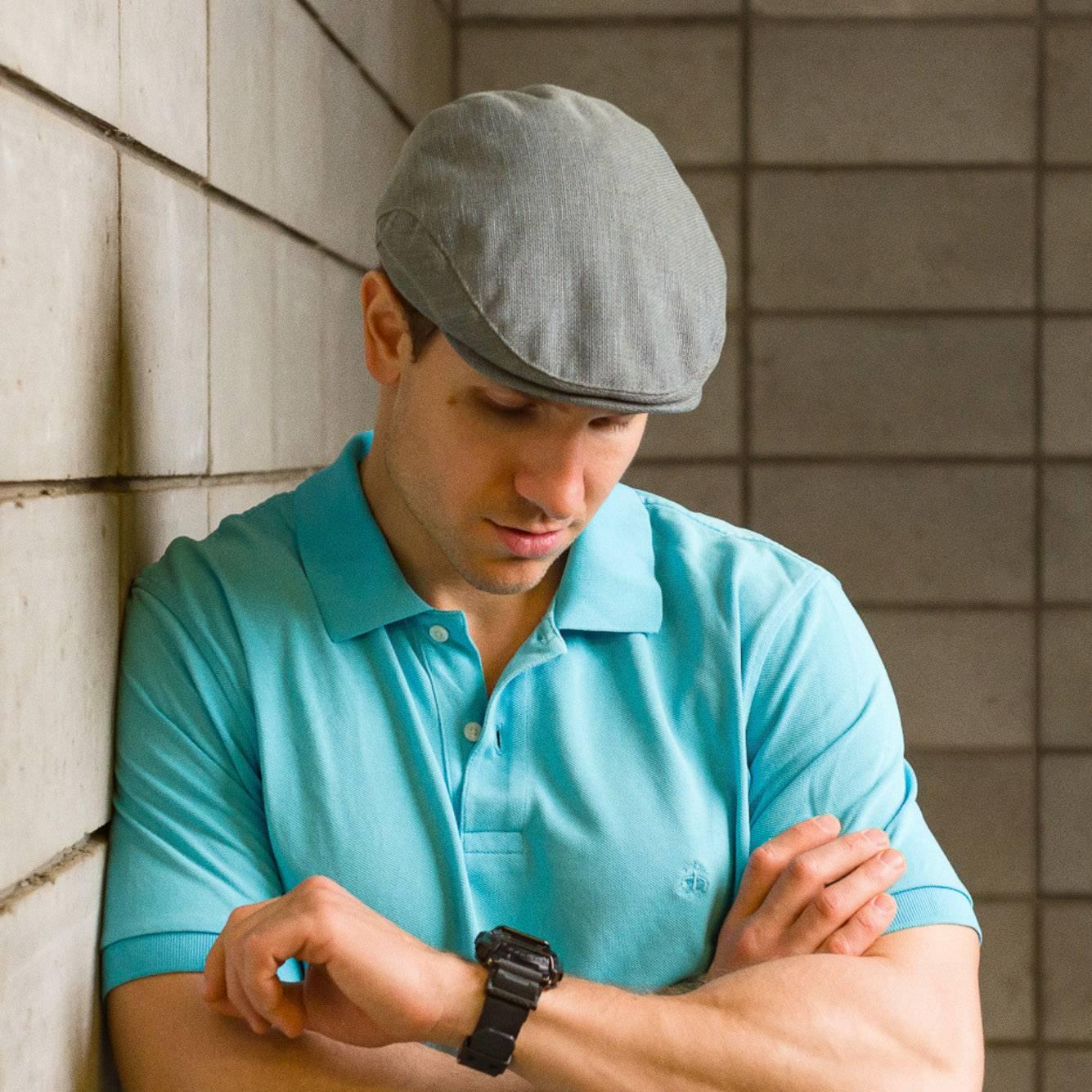 mens summer flat cap linen ivy league hat