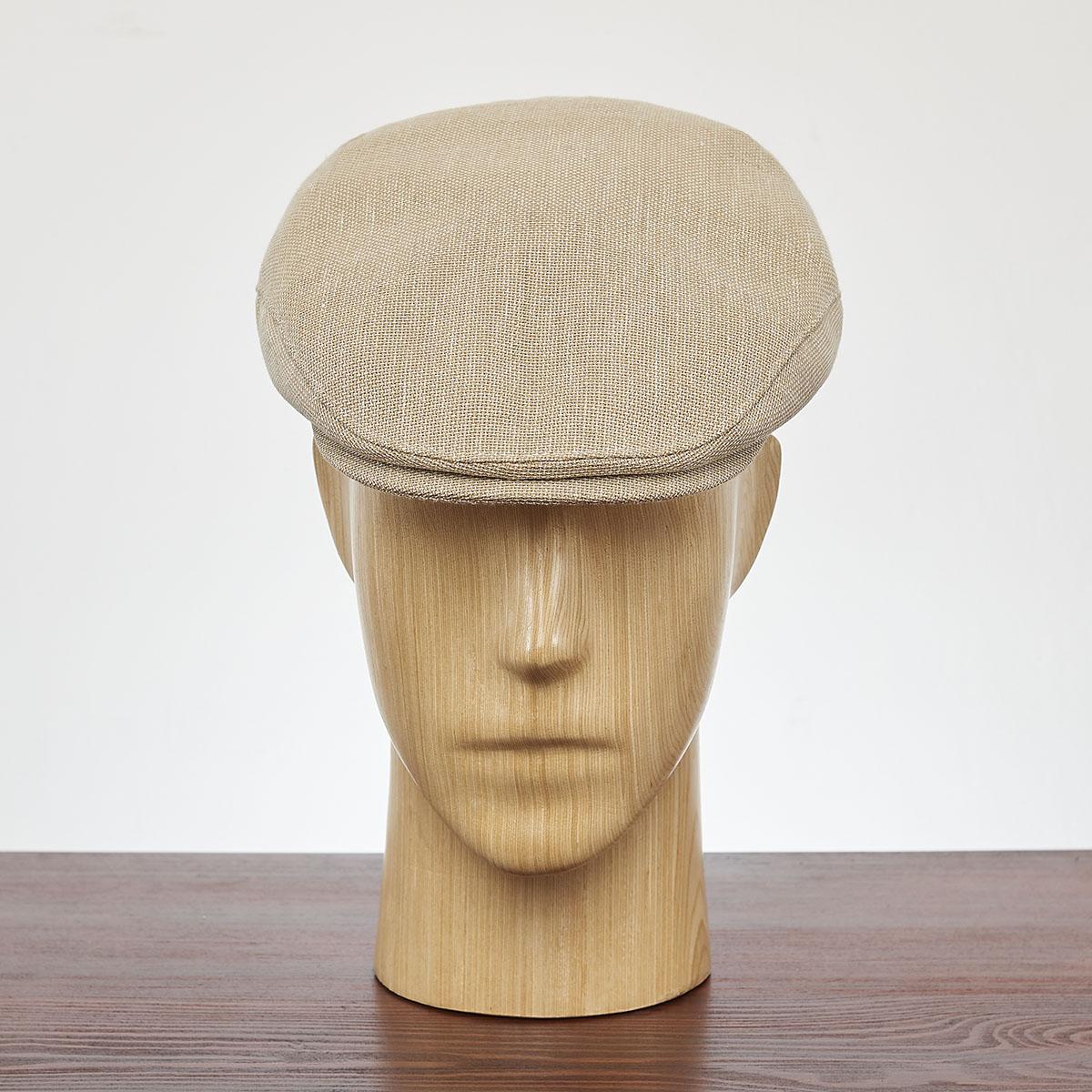 Mens summer flat cap airy lightweight linen cotton ivy league sun hat