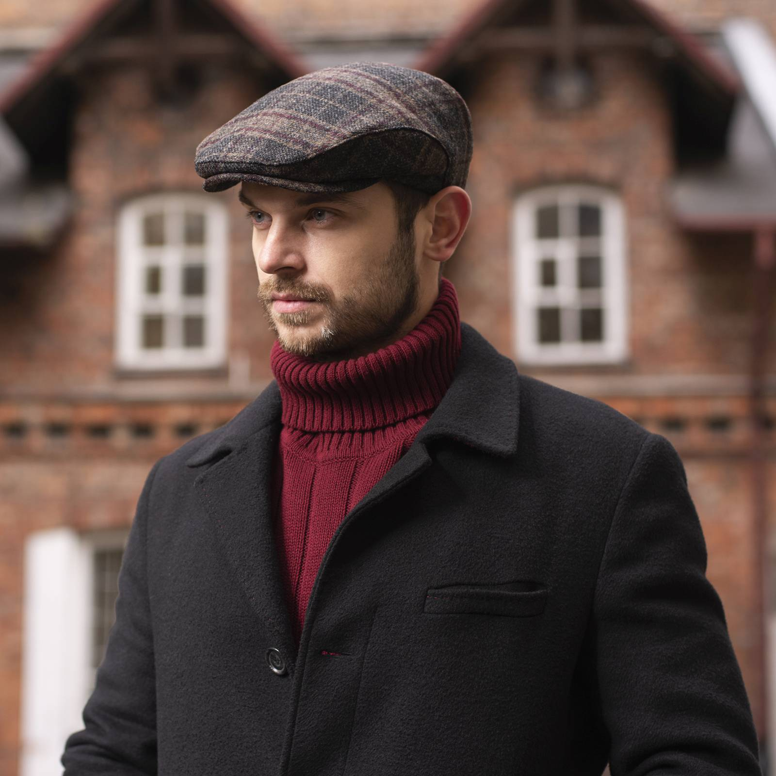 Merino wool fall flat cap