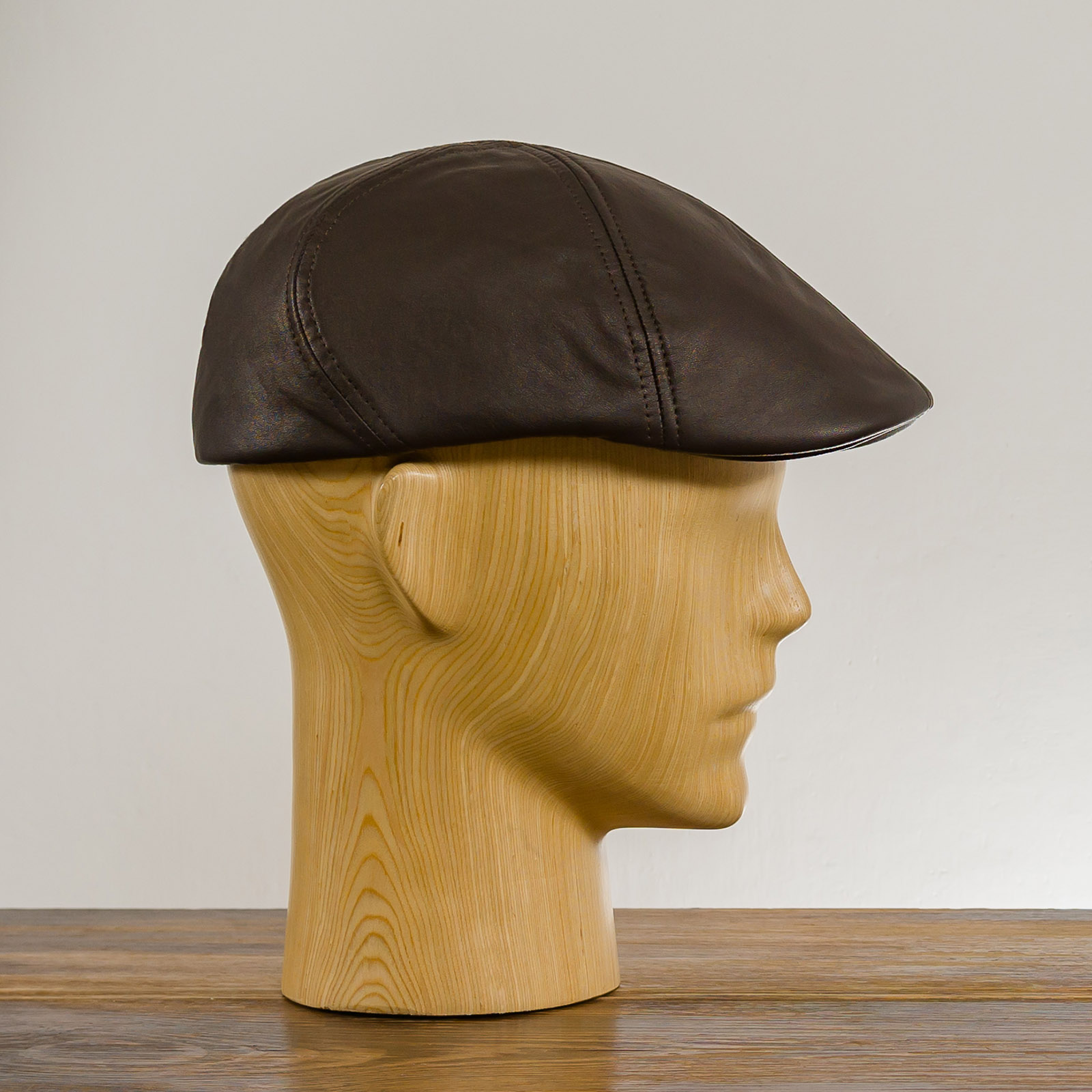 Genuine Leather 6 panel duckbill mens ivy league cap