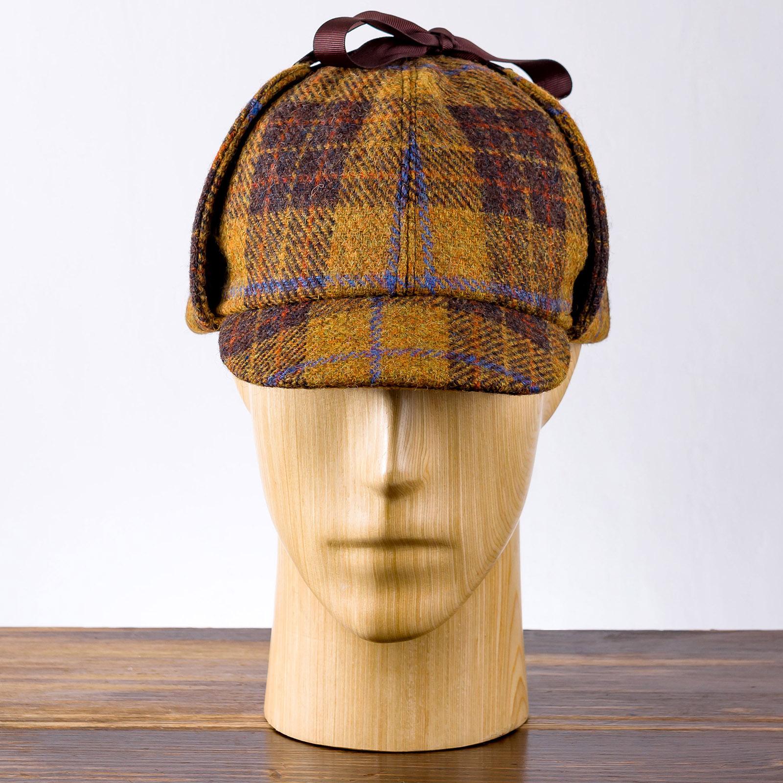 Genuine Scottish Harris Tweed pure wool deerstalker Holmes deer hunter cap Sherlock