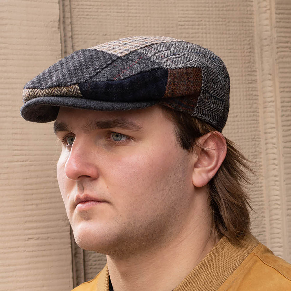 Wool patchwork flat cap Gatsby dai jeff ivy league derby paddy driving duffer plaid hat