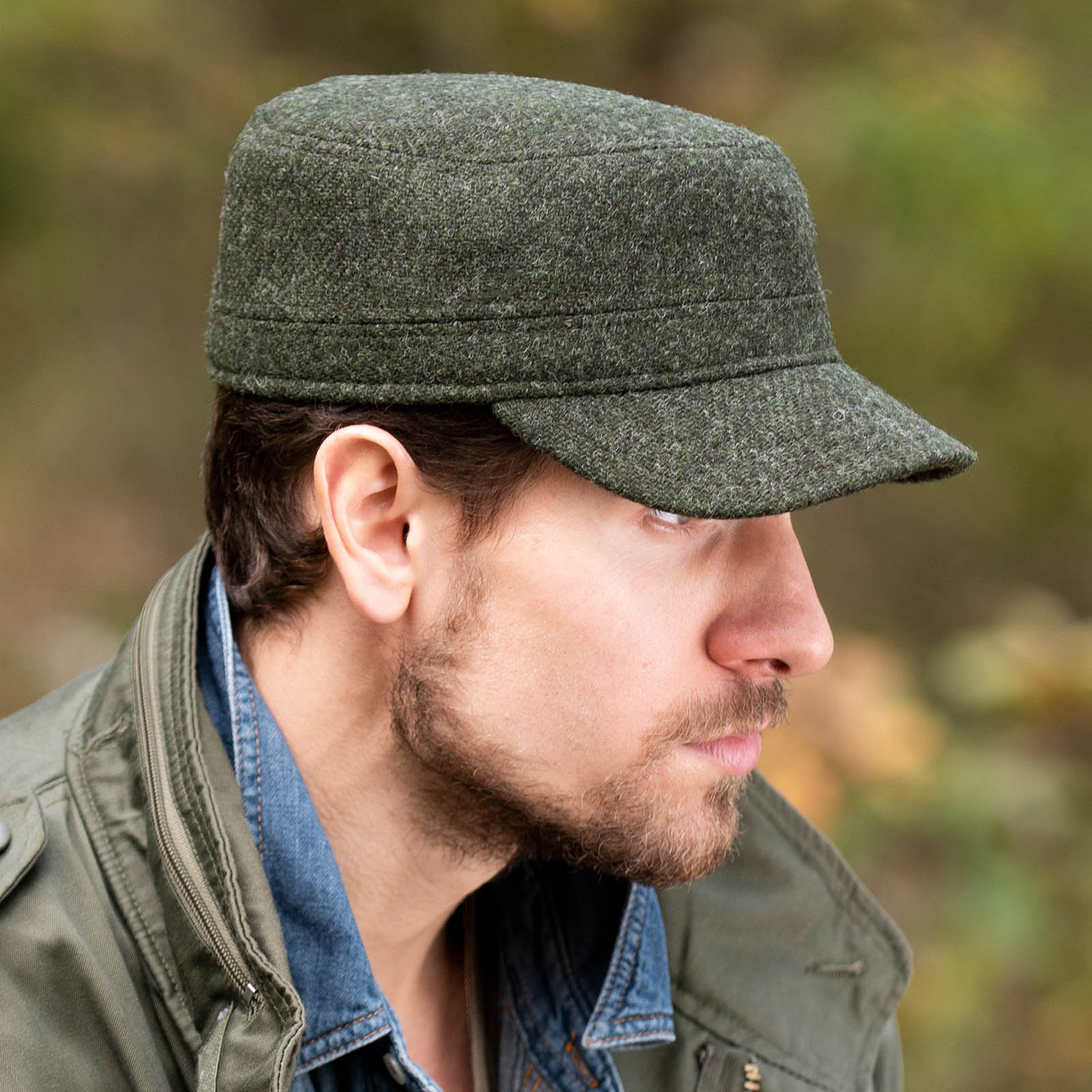 Harris Tweed Mens Winter Cap ball duty cap outdoor hunting fishing wool
