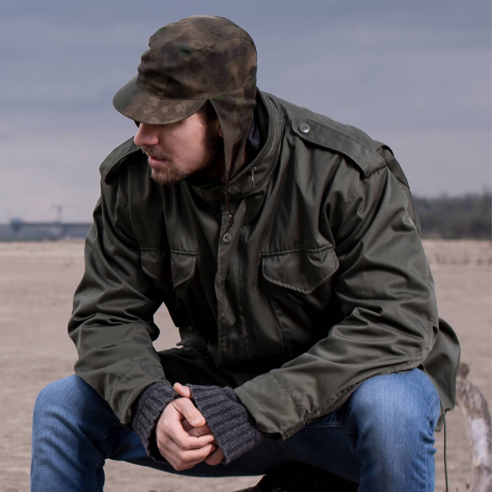 Waxed Cotton Roam Trapper Hat Kamikaze Ear Tab Storm Cap Camo Bomber Ushanka Mens Aviator Russian Pilot Hunter Sherpa