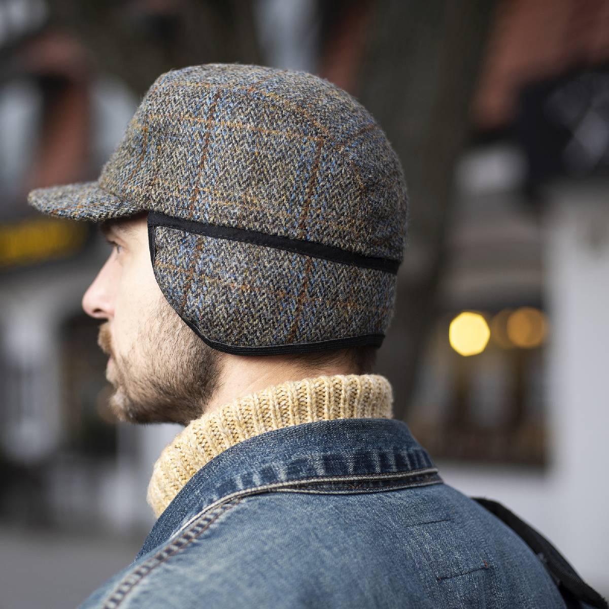 Genuine Scottish Harris Tweed pure wool ear tab winter cap herringbone Danish patrol baseball trucker