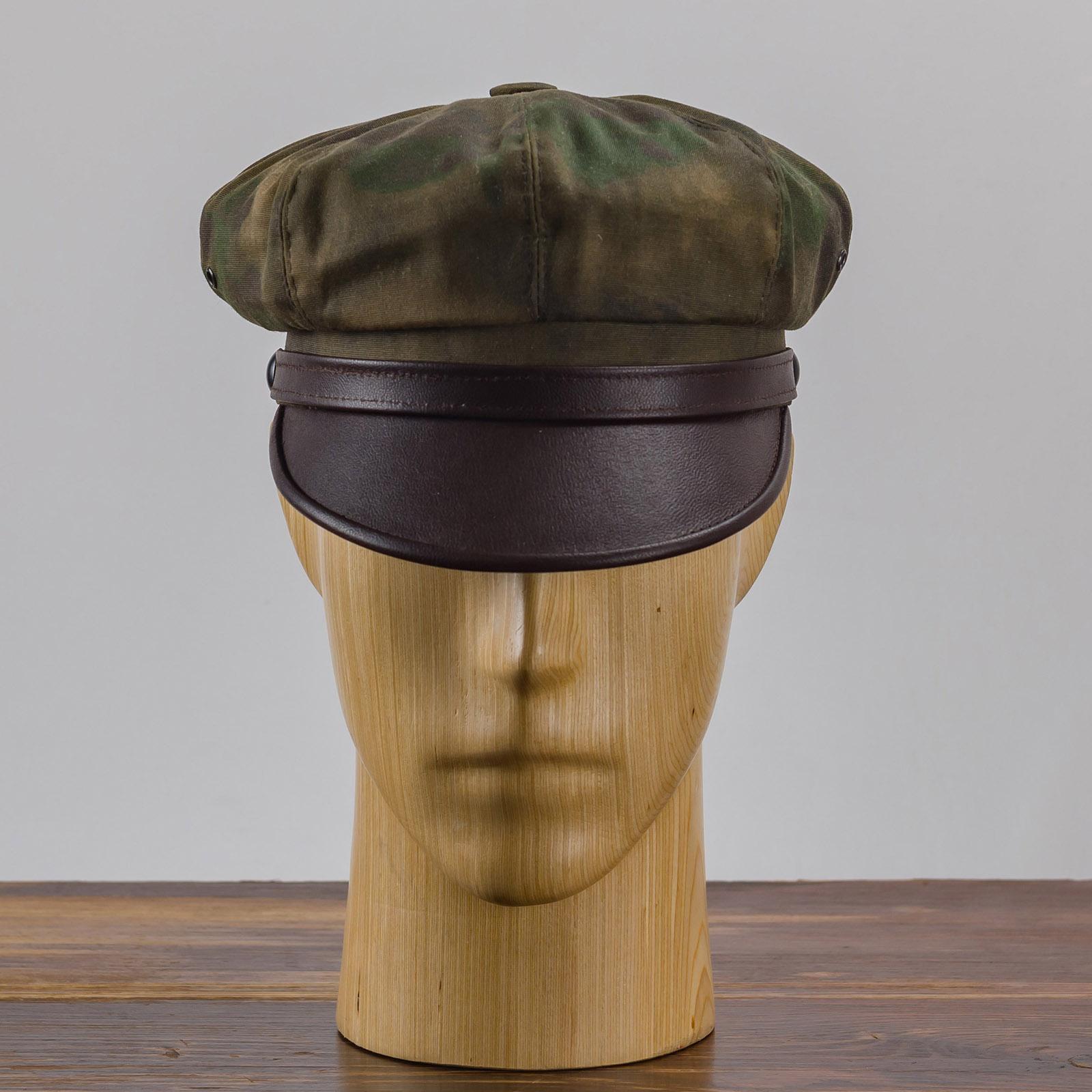 Waxed cotton leather visor vintage motorcycle cap rockabilly punk style biker chopper cruiser Marlon Brando