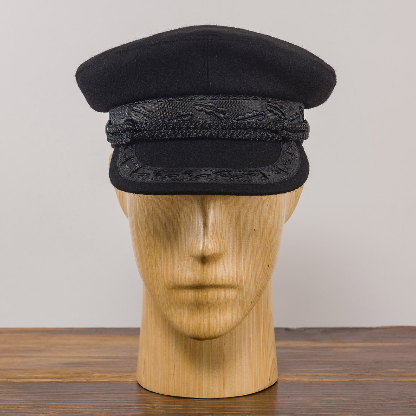 Wool cloth traditional Polish lacquered peaked cap cabbie chauffeur train conductor coachman railway gatekeeper cabby hat