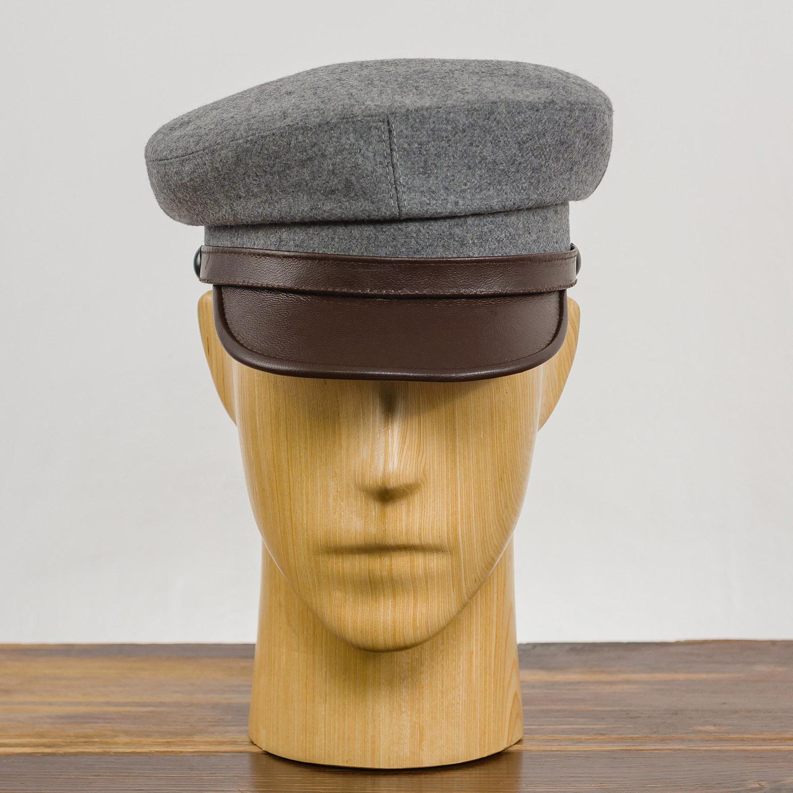 Wool crown leather visor traditional Polish peaked cap greek fisherman breton captains sailor nautical skipper fiddler