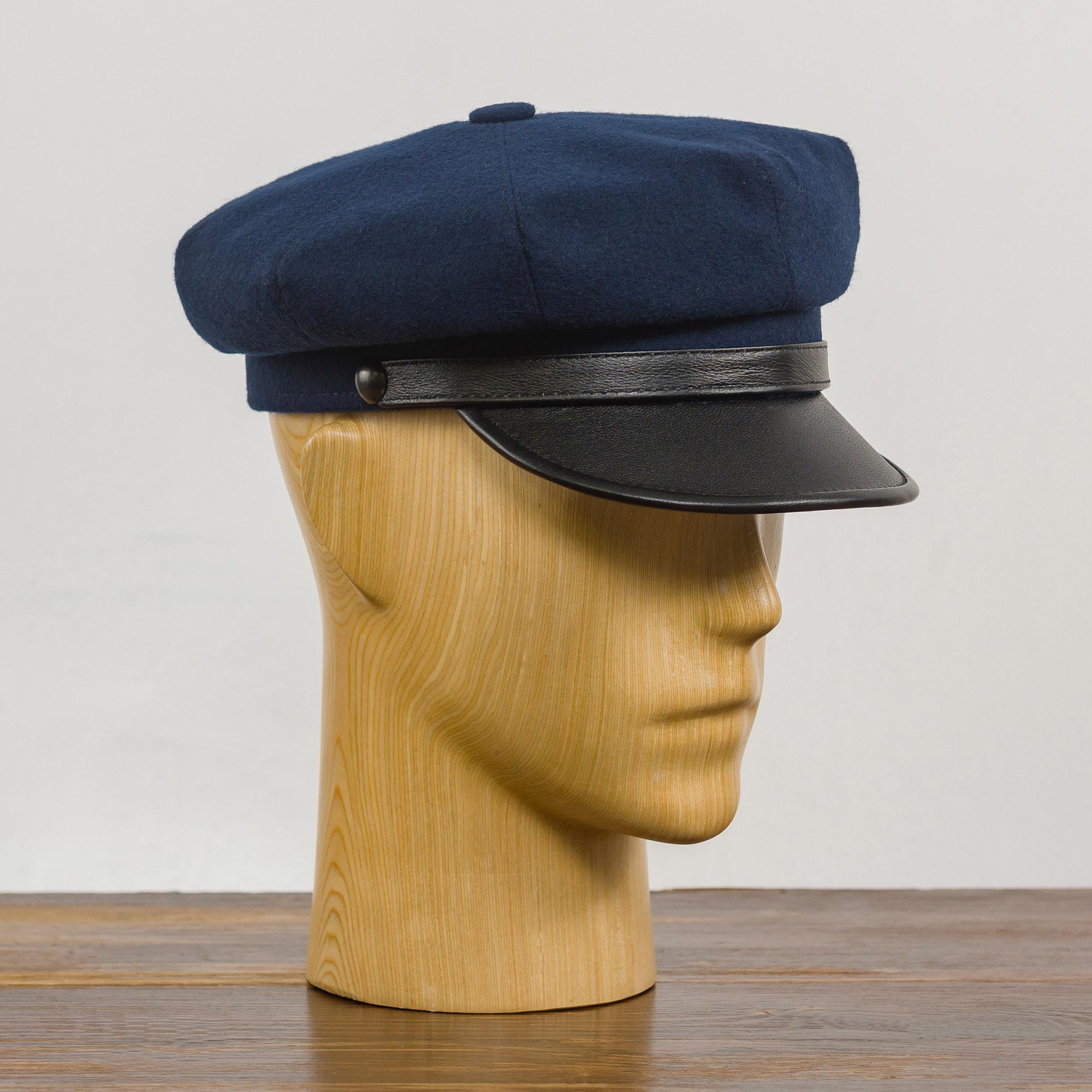 Wool vintage biker cap cloth genuine leather visor motorcycle Harley riding peaked hat duty Wild One officer retro oldschool