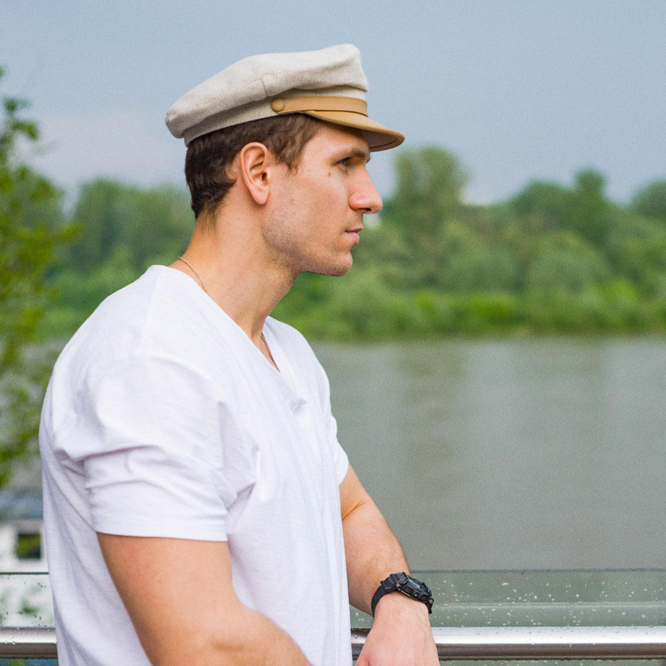 Linen natural skin visor traditional Polish summer cap lightweight airy breathable sun beach sailor merchant fleet hat