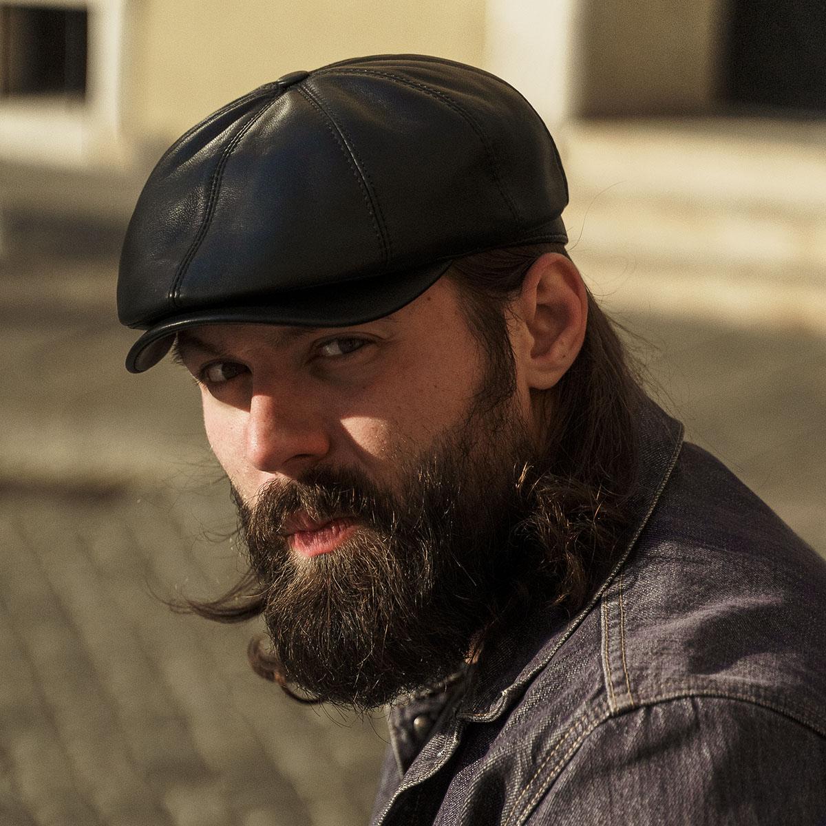 TonyGenuine leather gatsby 8 panels flat ivy cap irish poorboy applejack baker boy scally crook hooligan ivy bandit dai skin hat