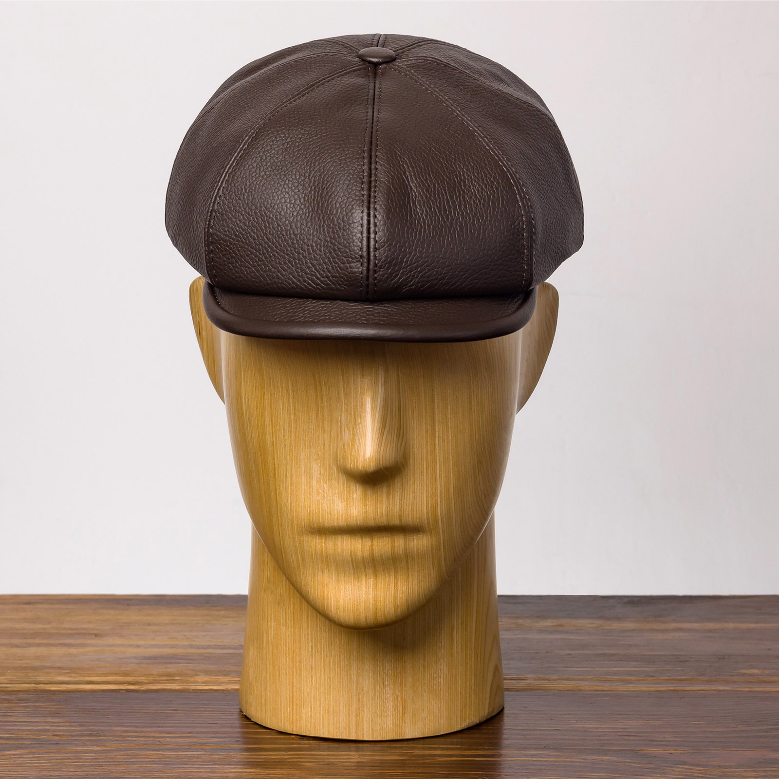 Natural leather flat cap 8 panels gatsby brian irish newsboy poor boy applejack baker boy scally crook hooligan ivy bandit skin
