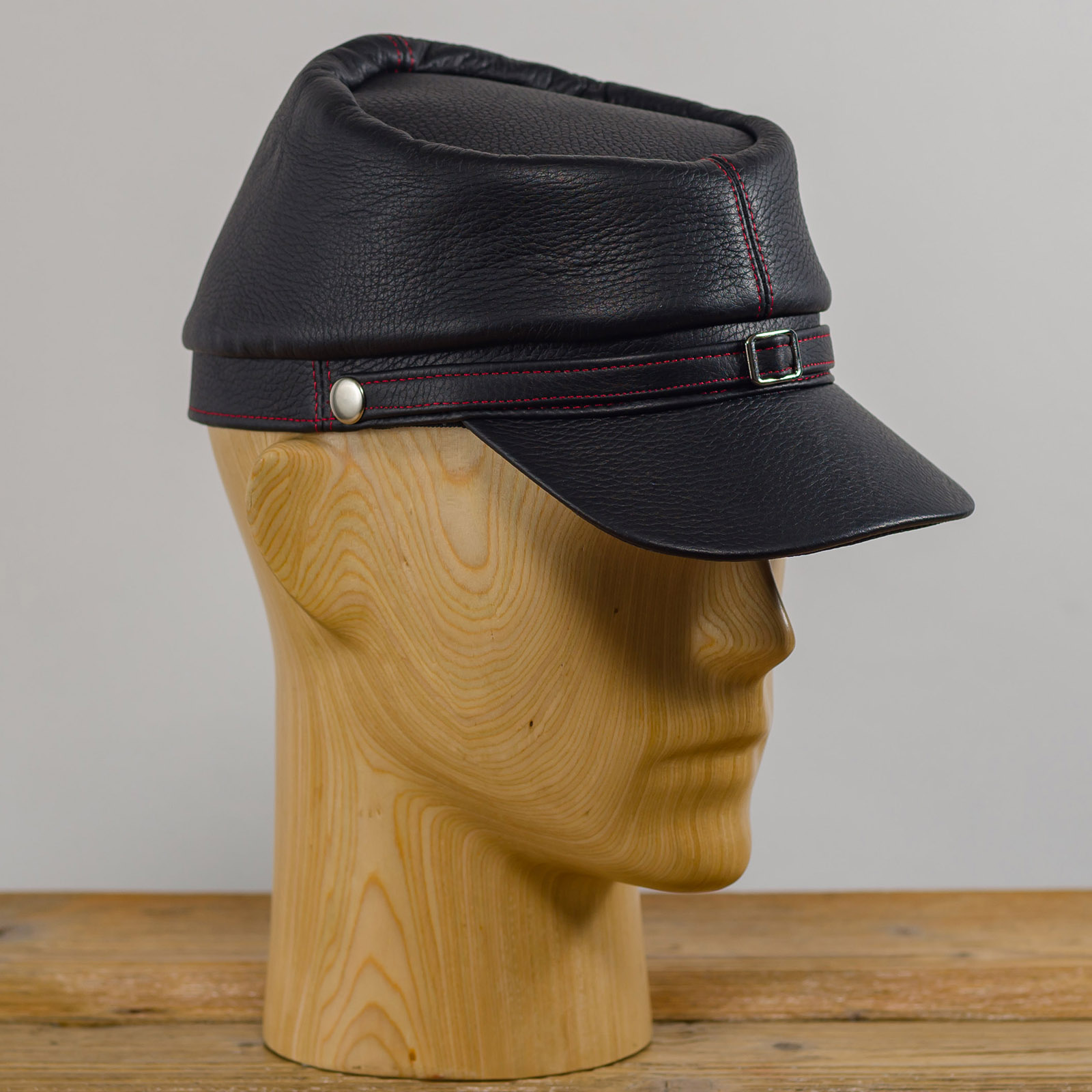Leather kepi cap american civil war replica secession confederate union army military officers collectible foreign legion hat