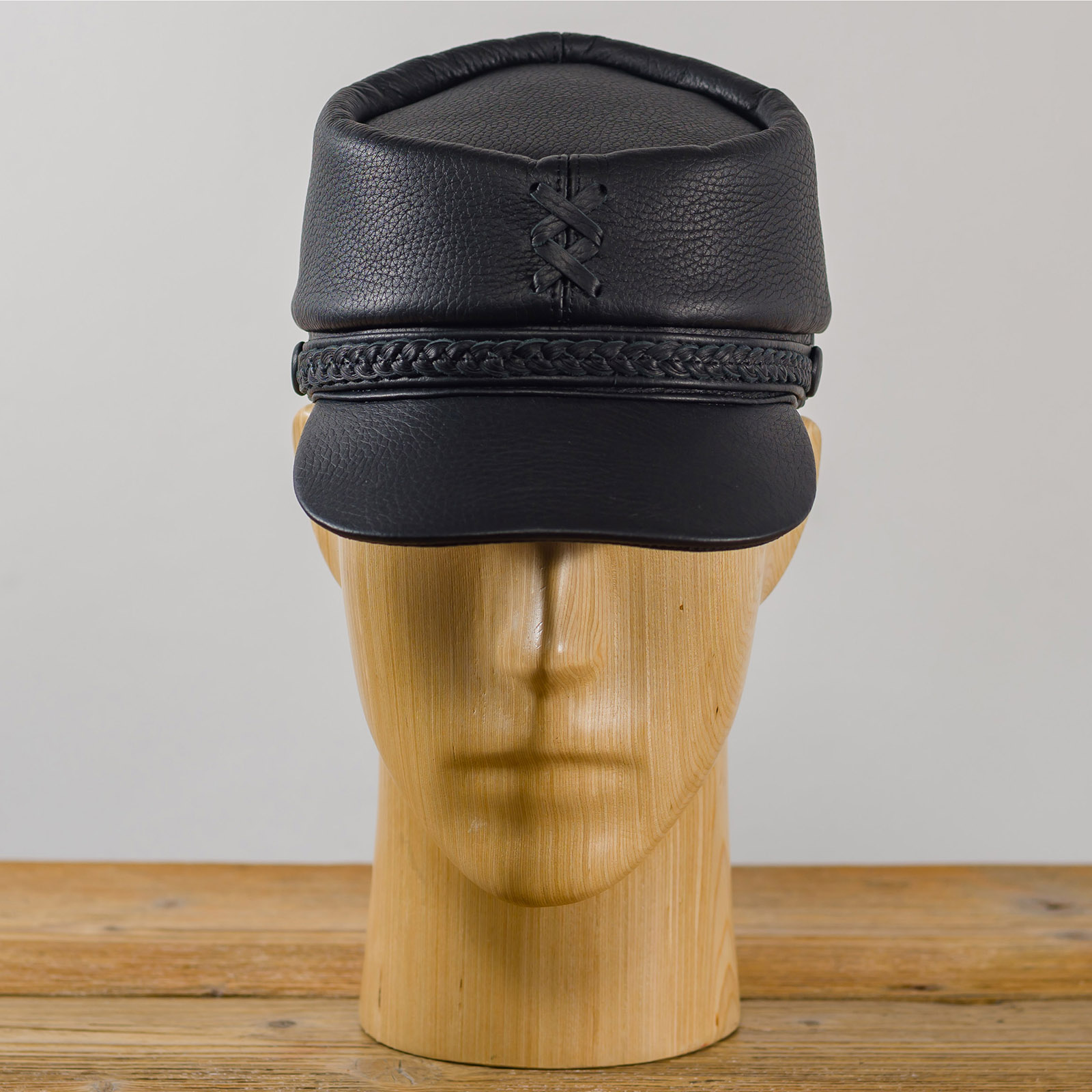 Genuine leather American Civil War replica kepi secession confederate union army military officers collectible foreign legion