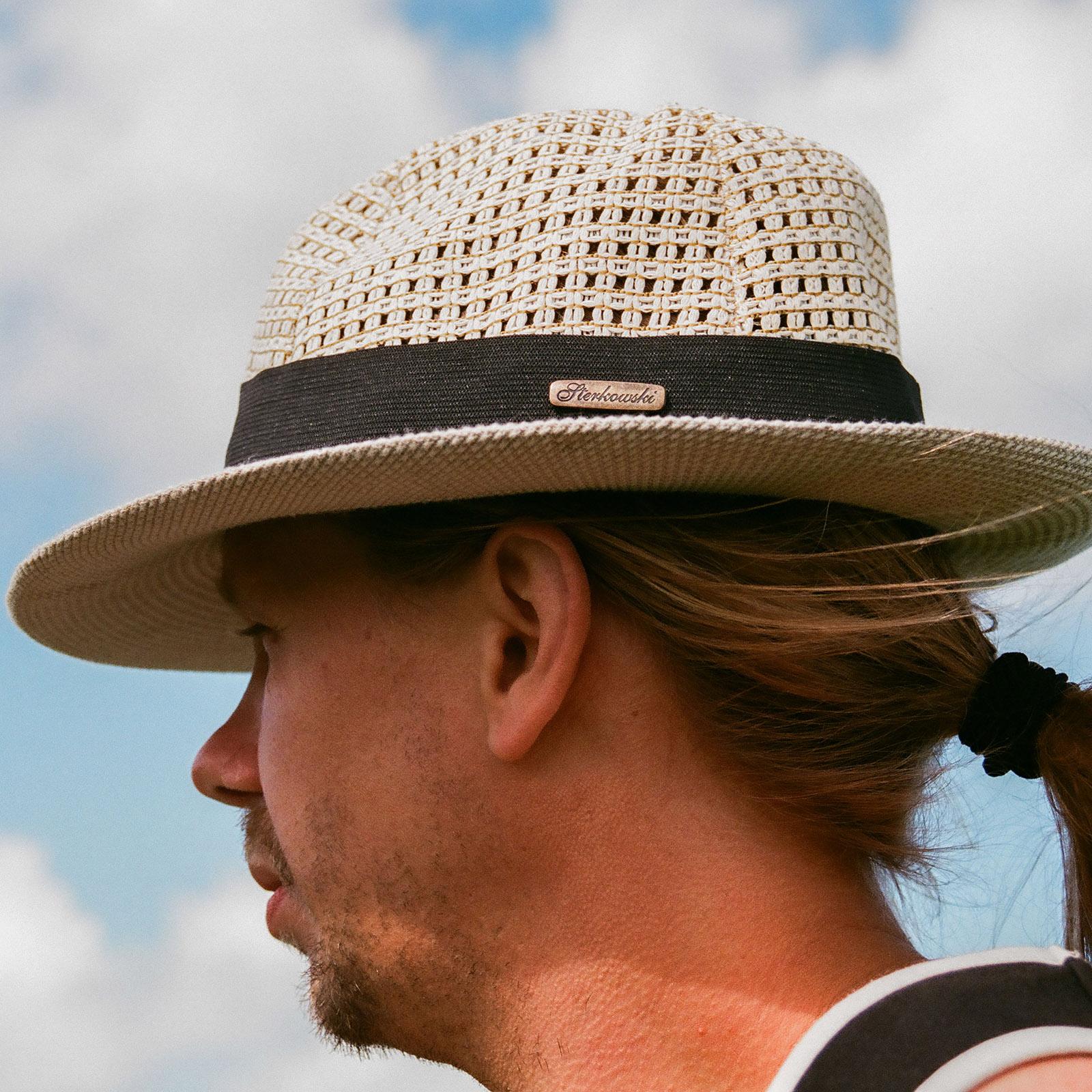 Openwork linen summer fedora hat wide brim linen sewn sun vented band beach festival resort vacation airy lightweight holiday