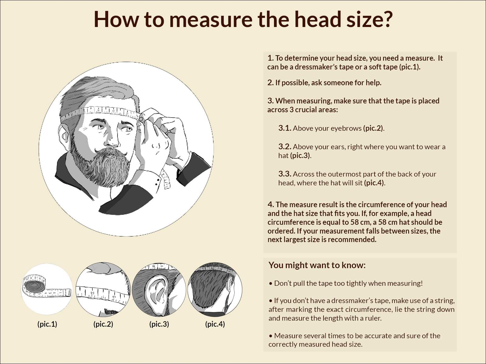 Tips for measuring a head